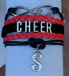 Custom Cheer Initial Bracelet- Pick Team Colors & Initial - Sportybella