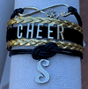 Personalized Black, Gold Cheer Infinity Charm Bracelet with Letter Charm
