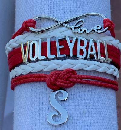 Personalized Red Volleyball Infinity Charm Bracelet with Letter Charm