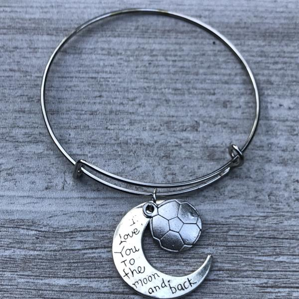 Soccer Love You to the Moon and Back Bangle Bracelet