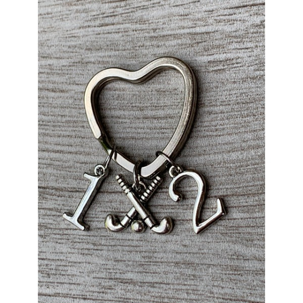 Personalized Field Hockey Heart Keychain - Number Charms