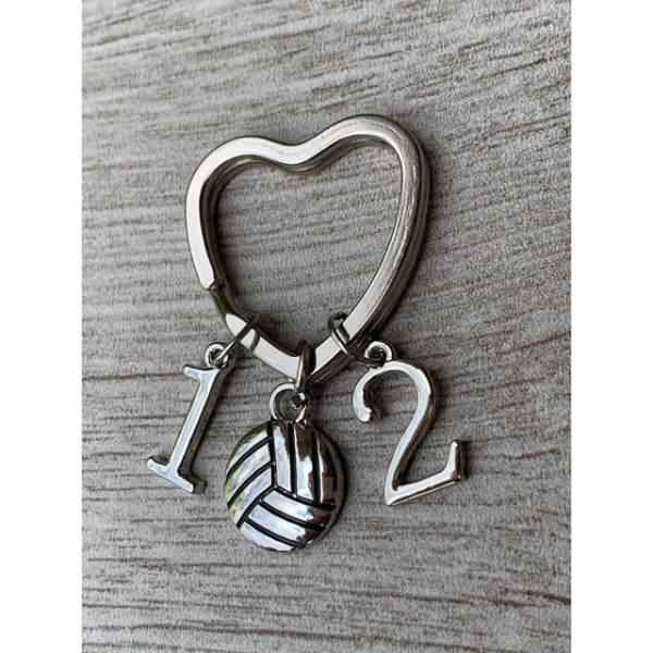 Personalized Volleyball Heart Keychain - Number Charms