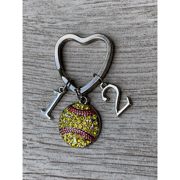Personalized Softball Heart Keychain - Number Charms