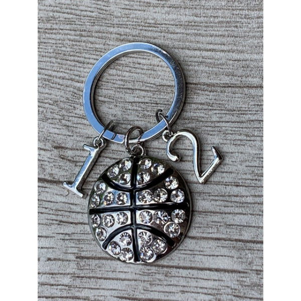 Personalized Basketball Heart Keychain with Number Charms