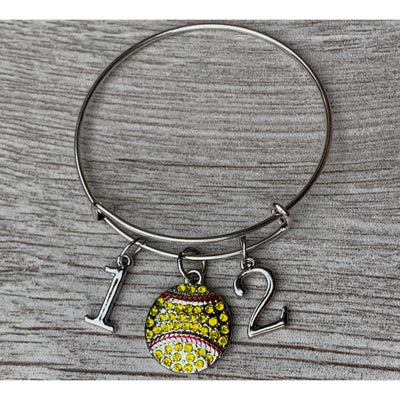 Personalized Softball Bangle Bracelet with Number Charms