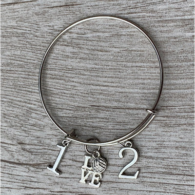 Personazlied Volleyball Bracelet- Number Charms