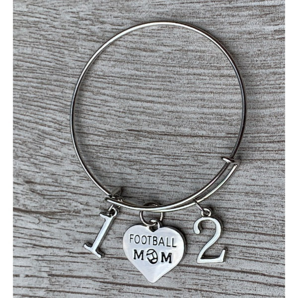 Football Mom Bangle Bracelet with Players Numbers