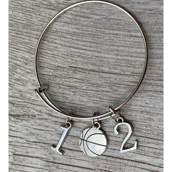 Personalized Basketball Charm Bracelet with Number Charms