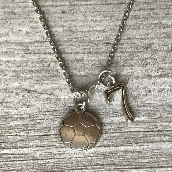 Personalized Girls Soccer Necklace with Number Charm