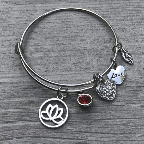 Personalized Yoga Bangle Bracelet with Birthstone