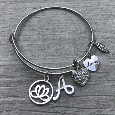 Personalized Yoga Bangle Bracelet with Initial