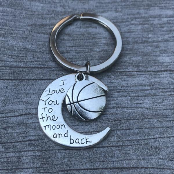 Basketball Love You to the Moon and Back Keychain - Sportybella