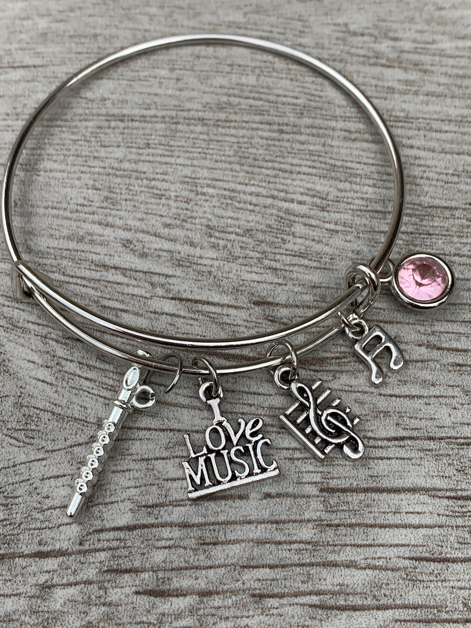 Personalized  Flute Charm Bangle Bracelet with Birthstone
