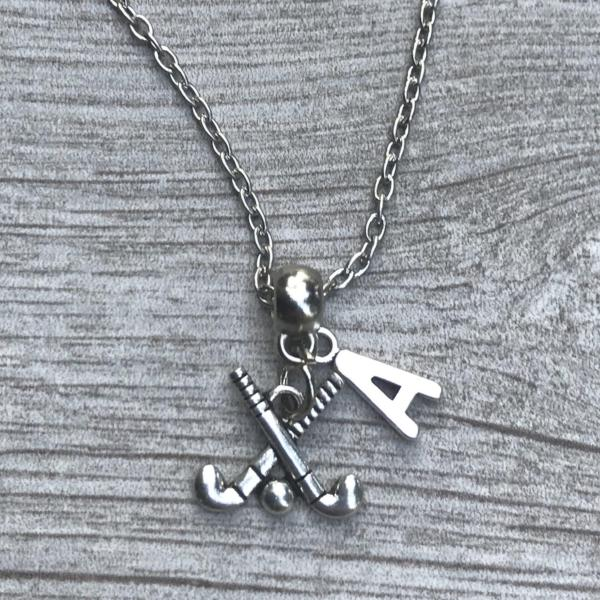 Personalized Field Hockey Stick Necklace with Letter Charm