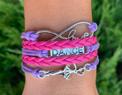 Girls Dance Infinity Bracelet Pink & Purple