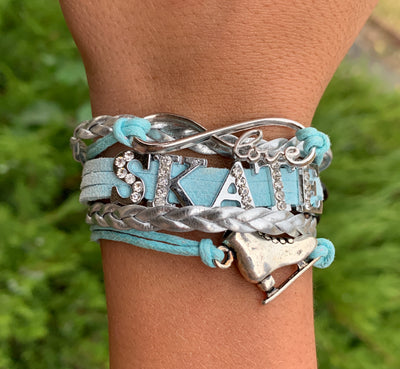 Girls Figure Skating Bracelet- Blue Rhinestone