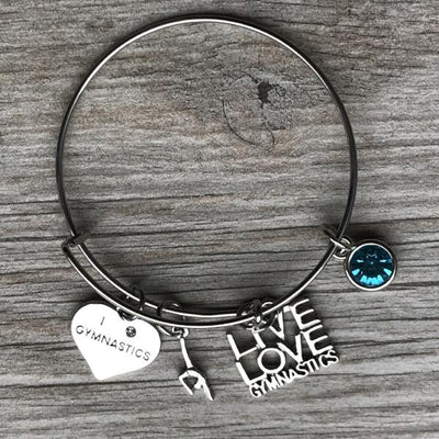 Personalized Gymnastics Live Love Bangle Bracelet