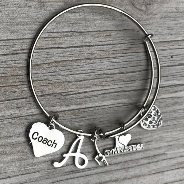 Personalized Gymnastics Coach Bangle Bracelet