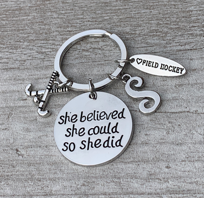 Personalized Field Hockey She Believed Keychain - Letter Charm
