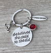 Personalized Field Hockey She Believed Keychain - Birthstone