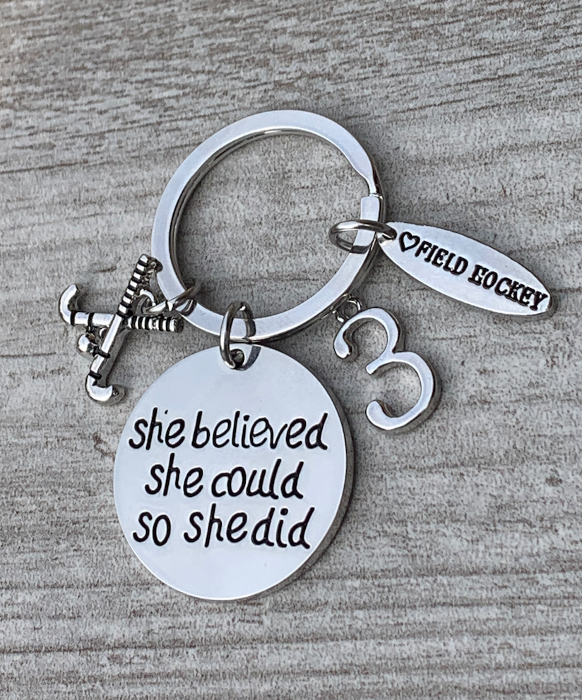 Personalized Field Hockey She Believed She Keychain with Number Charm