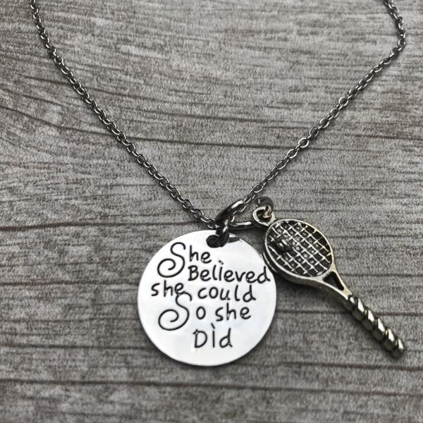Girls Tennis She Believed She Could So She Did Necklace