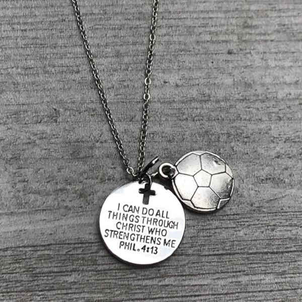 soccer christ necklace