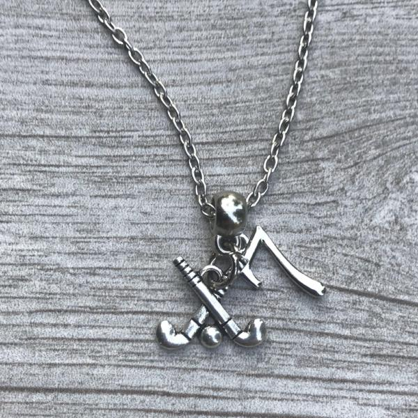 Field Hockey Stick Necklace with Number Charm - Sportybella