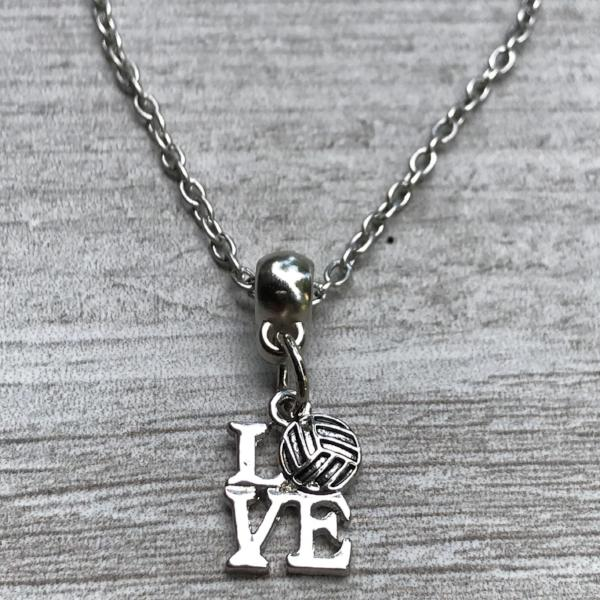 Love Volleyball Charm Necklace