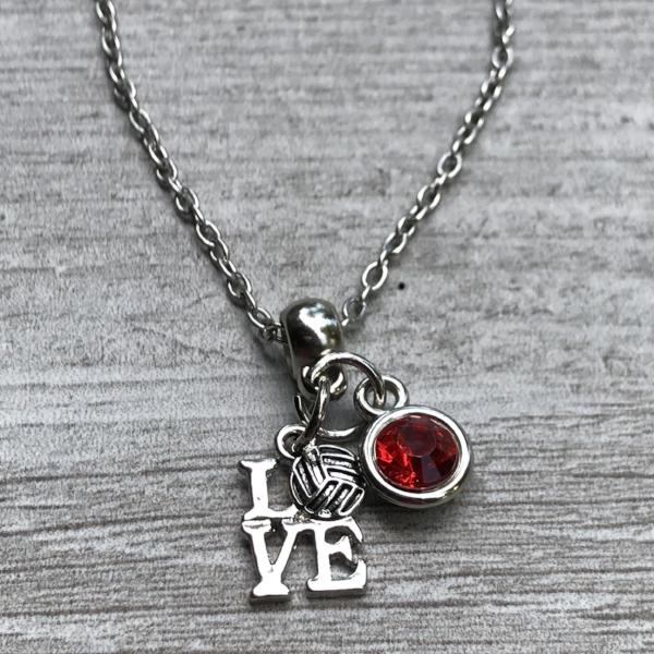 Personalized Love Volleyball Charm Necklace