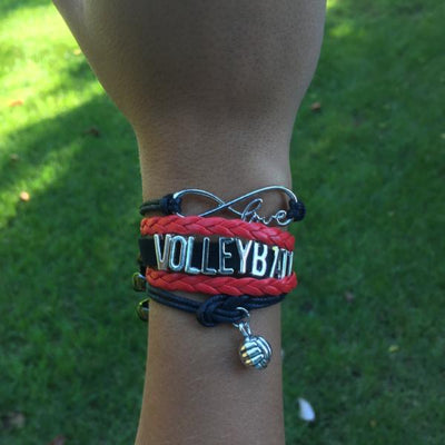 Volleyball Infinity Bracelet-Red - Sportybella
