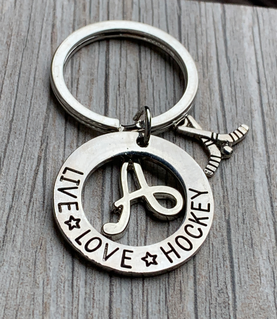 Personalized Ice Hockey Live Love Hockey Charm Keychain
