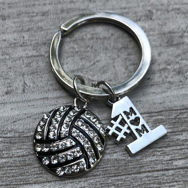 Volleyball Mom Rhinestone Keychain