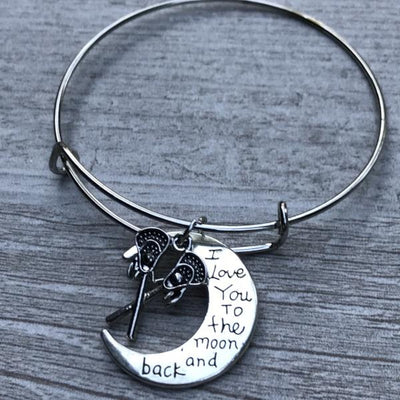 Lacrosse Love You to the Moon and Back Bangle Bracelet