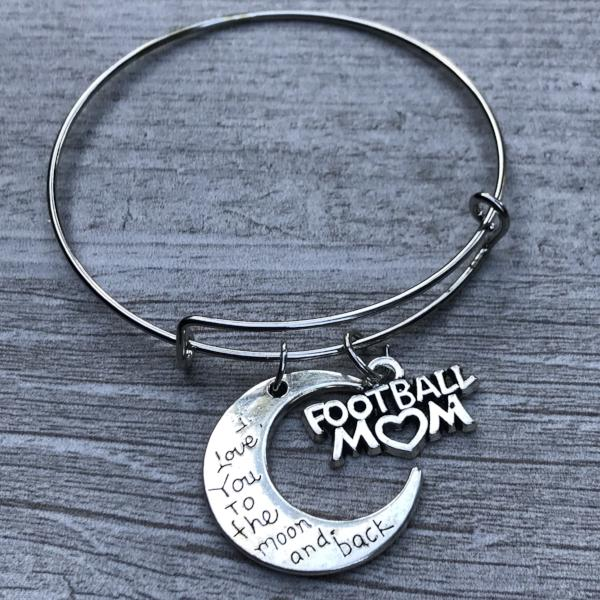 Football Mom Love You to the Moon and Back Bangle Bracelet - Sportybella