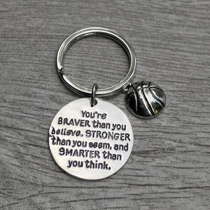 Inspirational You're Braver than you Believe Basketball Keychain