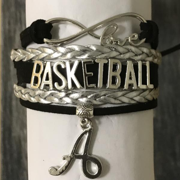 Personalized Basketball Infinity Charm Bracelet with Letter Charm