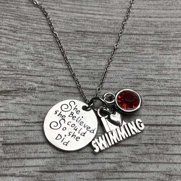 Personalized Girls Swim Necklace with Birthstone Charm