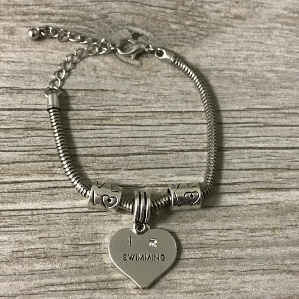 Love Swimming Heart Charm Bracelet
