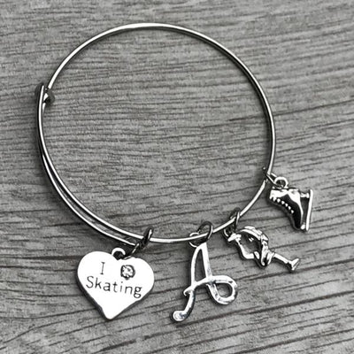 Personalized Figure Skating Bangle Bracelet