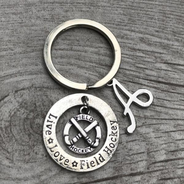 Personalized Field Hockey Live Love Letter Charm Keychain