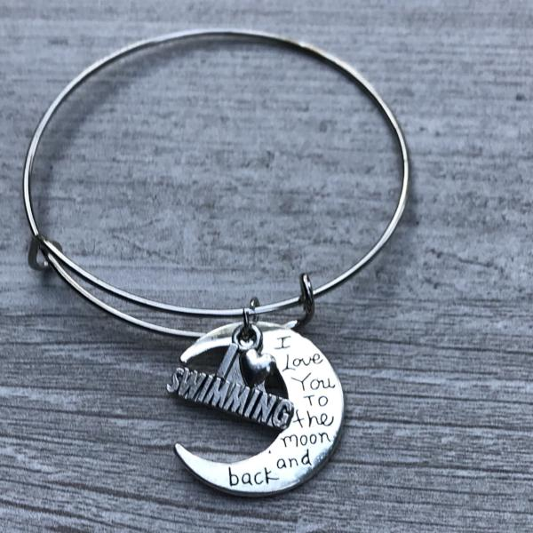 Swimming Love You to the Moon and Back Bangle Bracelet