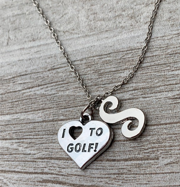 Love Golf Initlal Necklace
