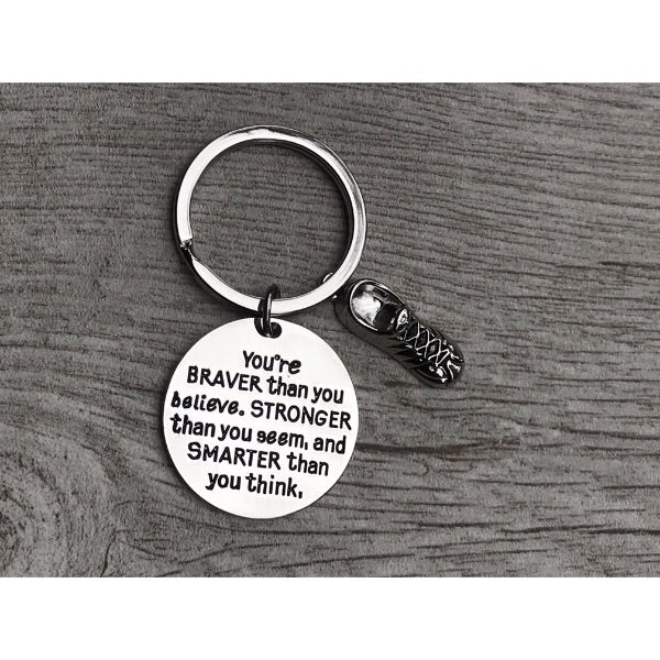 Running Charm Keychain, Inspirational You're Braver Than You Believe, Stronger Than You Seem & Smarter You Think