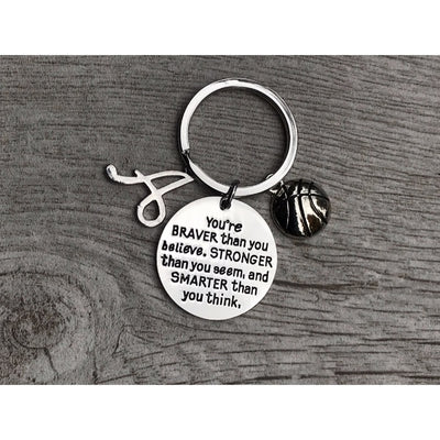 Personalized Inspirational You're Braver than you Believe Basketball Keychain