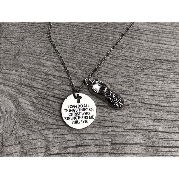 Runner Charm Necklace, Christian Faith Charm Pendant, I Can Do All Things Through Christ Who Strengthens Me Phil. 4:13