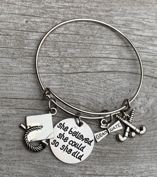 2020 Field Hockey Graduation Bracelet - She Believed She Could