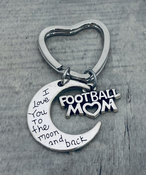 Football Mom Keychain - Love You to the Moon and Back