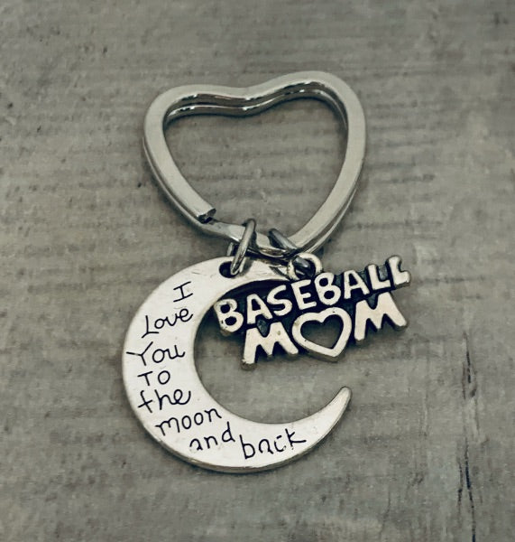 Baseball Mom Keychain - Love You to the Moon and Back
