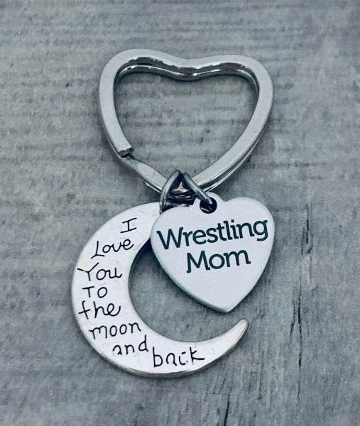 Wrestling Mom Keychain - Love You to the Moon and Back
